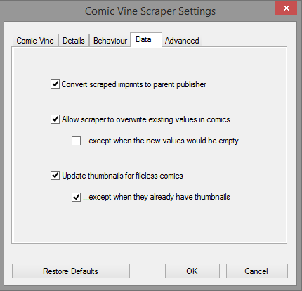 The 'Data' panel of the settings dialog.
