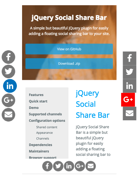 jquery social share screenshot