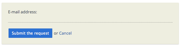 A preview of the submit button accompanied by a Cancel link.