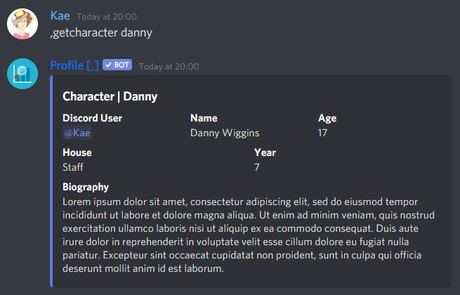A Discord embed showing the information of a character