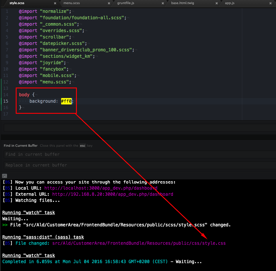 grunt-browser-sync not reloading on css update (Symfony php