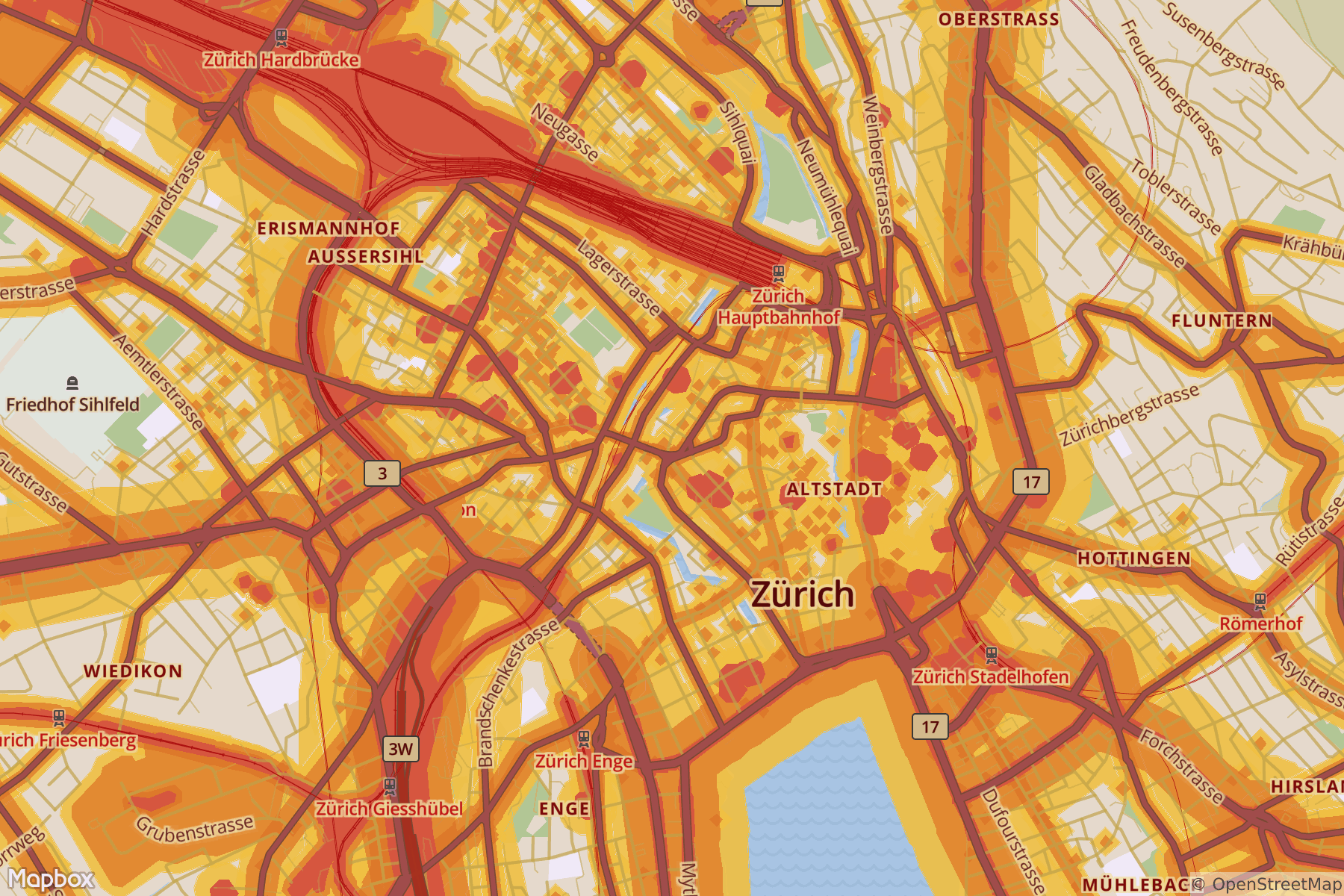 Noise map of Zurich
