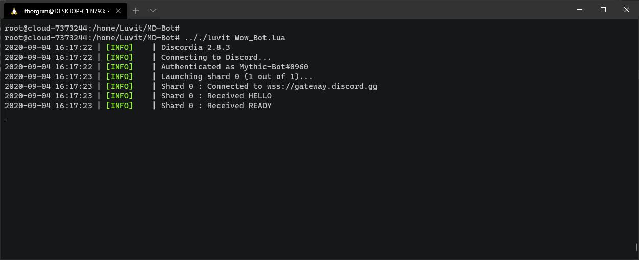 iThorgrim LUA Discord Register bot running in terminal