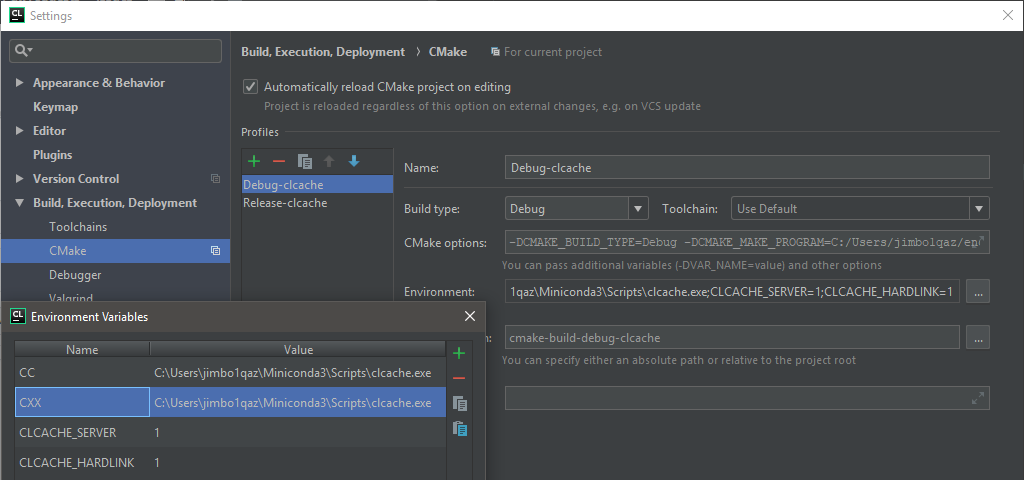 CLion: Jom (parallel builds) and clcache (fast partial