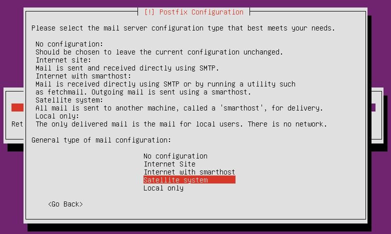 screenshot of mail server type configuration screen