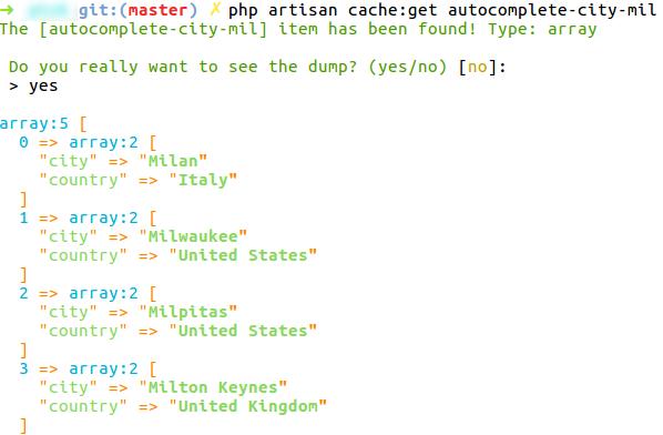 Retrieve array from cache