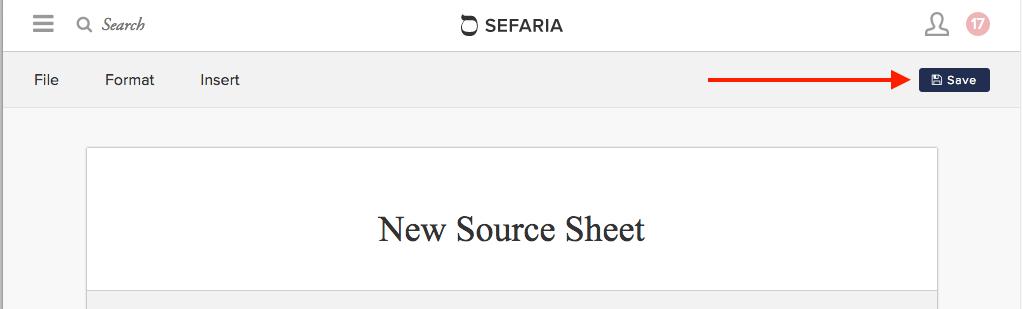 Screen shot of Sefaria Source Sheet header