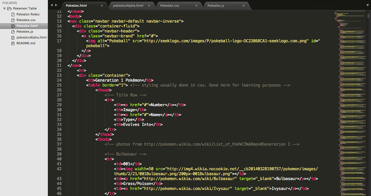 Pokemon Table Code in Sublime Text