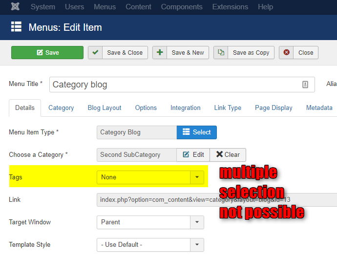 Menu Item > Category Blog : filter by Tag does not (yet