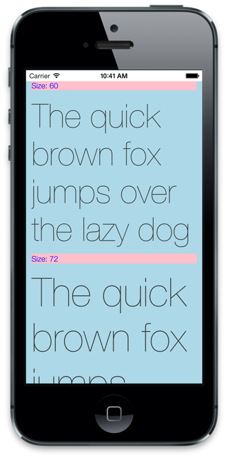 Font size example 3