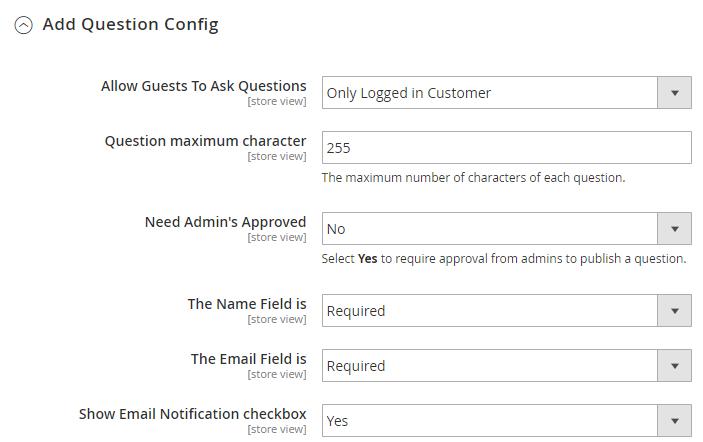 add question config