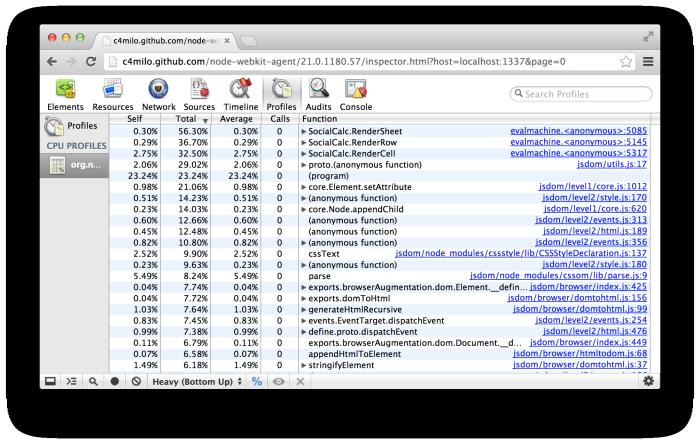 效能分析器螢幕截圖(包括 jsdom)