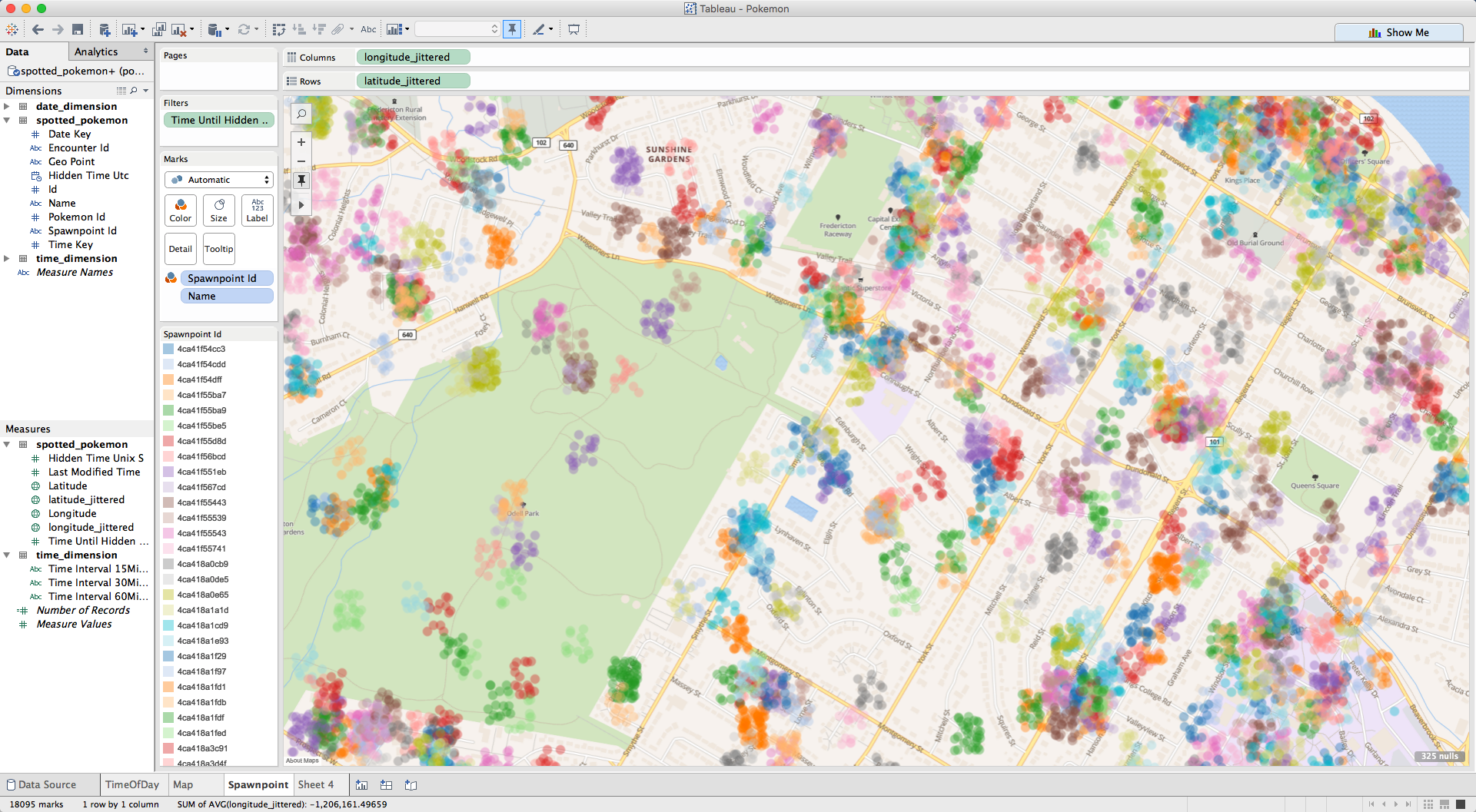 Tableau Screenshot of Spawn Points