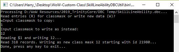 Writing new SkillLineAbility.dbc data