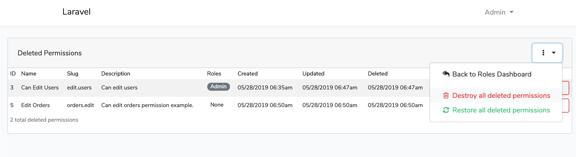Laravel Roles GUI Permissions Soft Deletes Dashboard