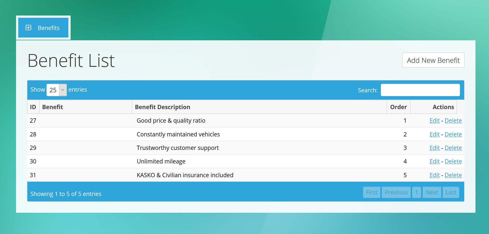 3. Benefits - Admin Benefit Manager