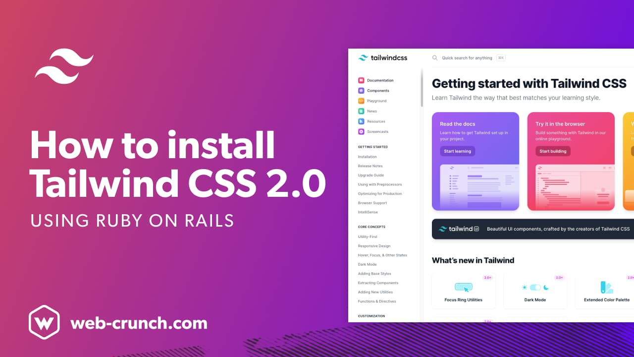 How to install Tailwind CSS v2.0 using Ruby on Rails