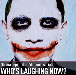 Obama grimmé en Joker