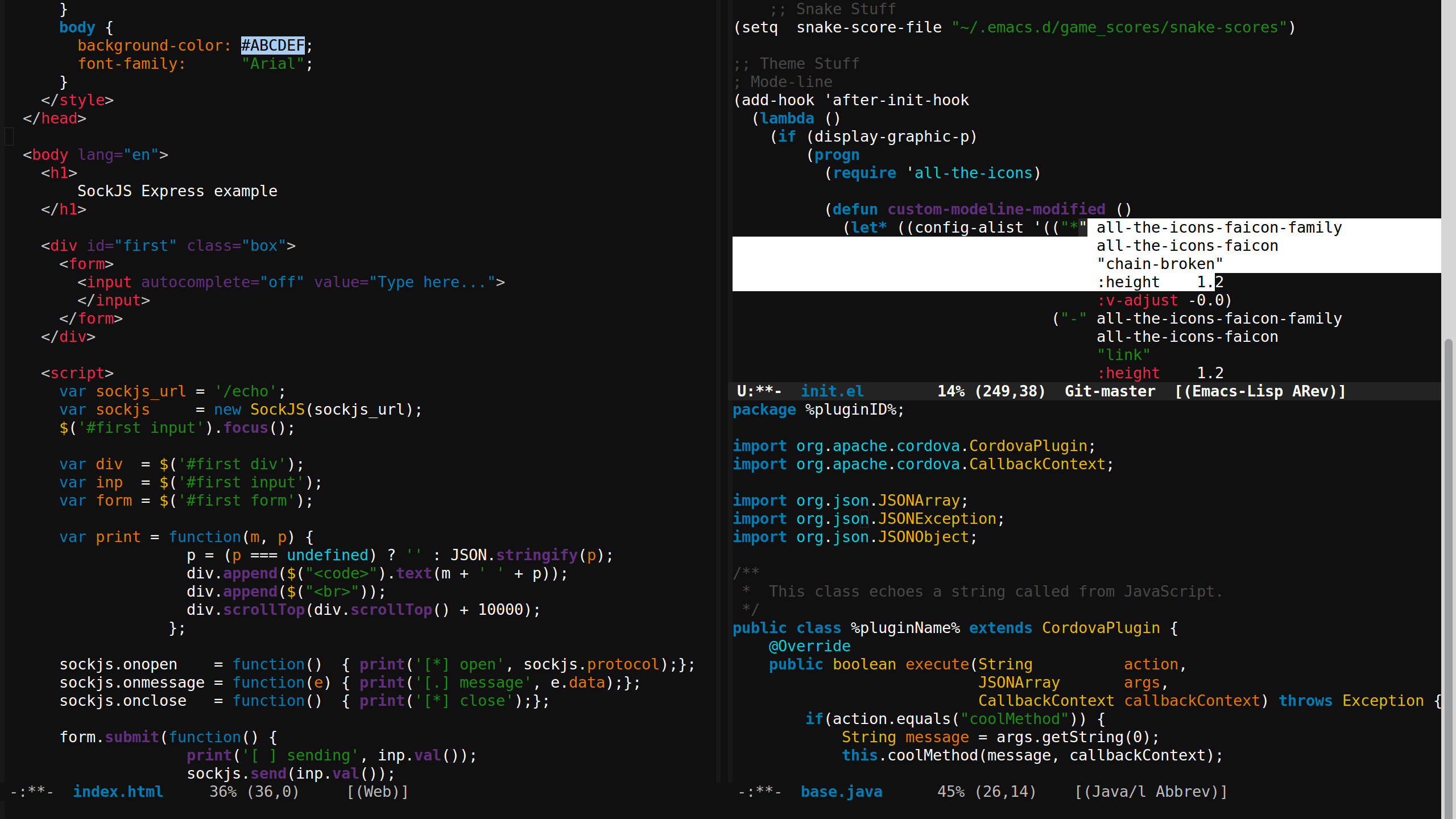 Web, Lisp, and Java Modes