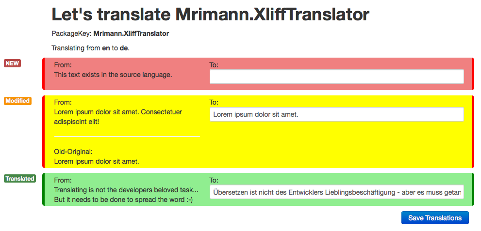 Screenshot of the translation tool in action
