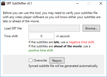 SRT SubShifter v0.1
