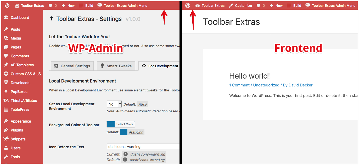 Toolbar Extras - smart tweak: use the same color scheme for Toolbar on the frontend as in the WP-Admin