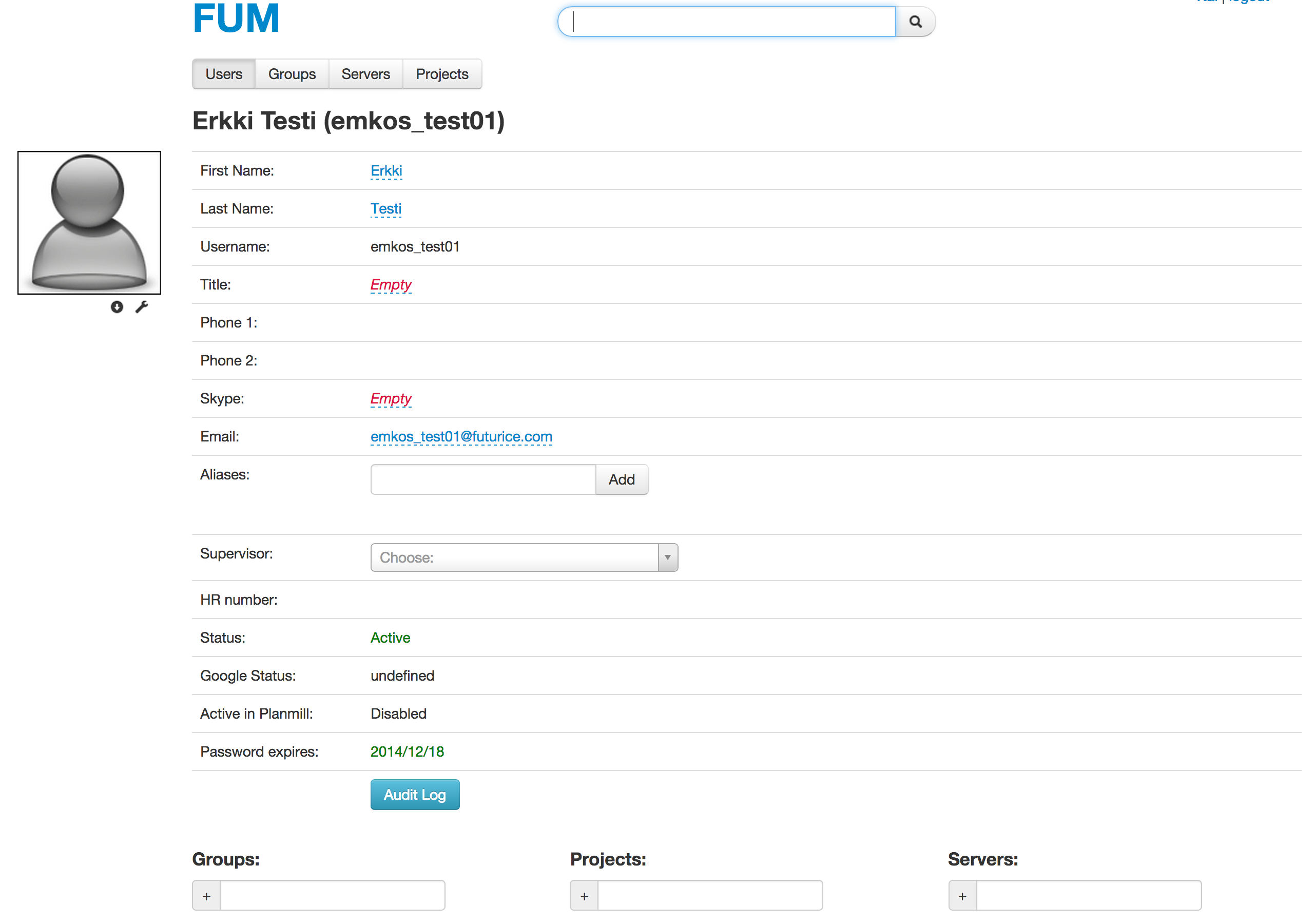 Profile view from FUM.