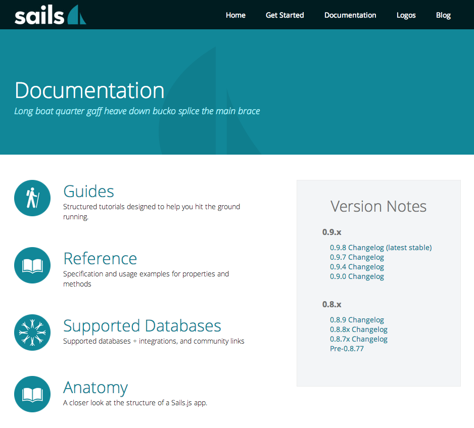 Screenshot of the www.sailsjs.org website