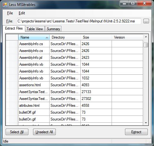 lessmsi Files Tab screenshot
