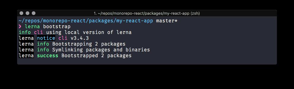 Screenshot of the Lerna Bootstrap success message