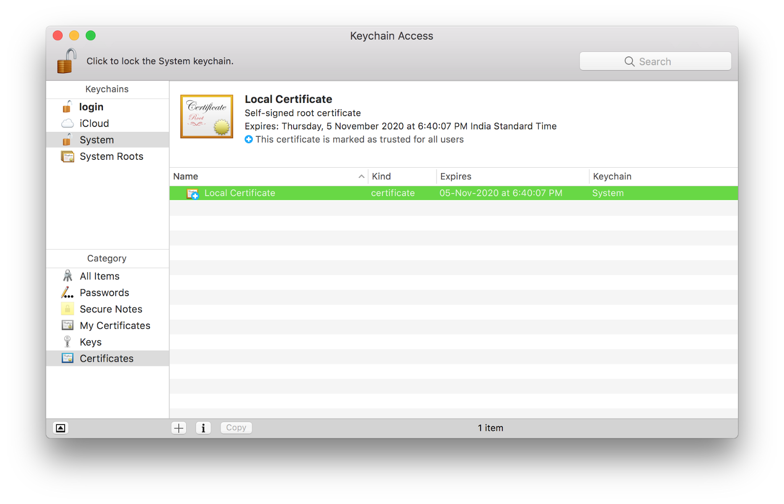 Trust root certificate