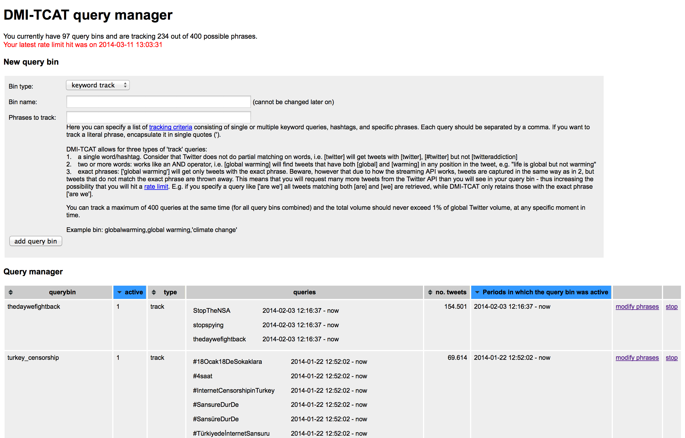 Query manager interface of DMI-TCAT