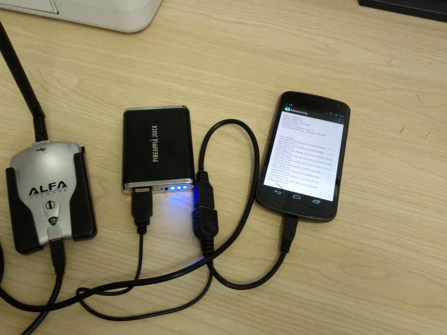 Galaxy Nexus hooked up to ALFA AWUS036H and USB battery pack through a USB OTG Y-cable