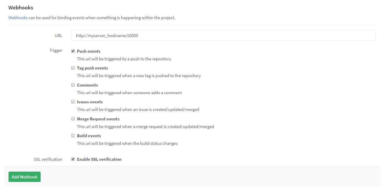 GitLab CE Repository Webhooks