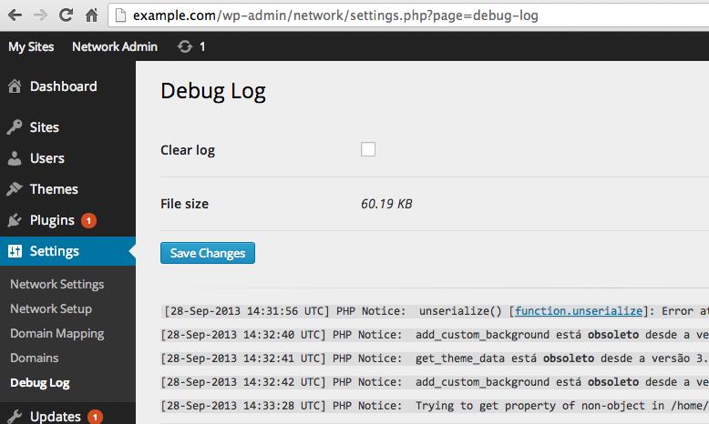 view debug log page