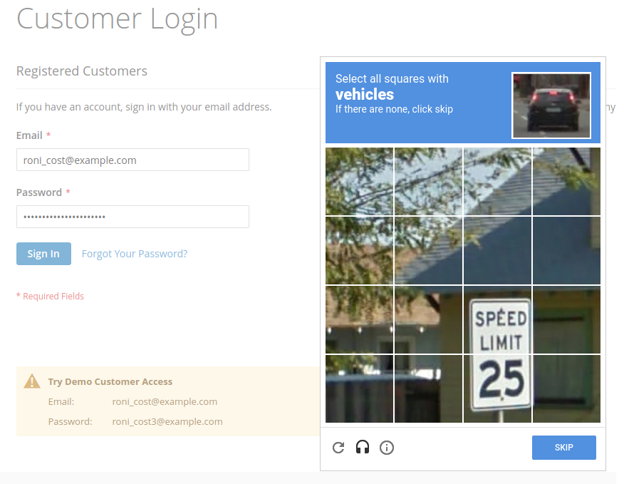 display recaptcha on the frontend
