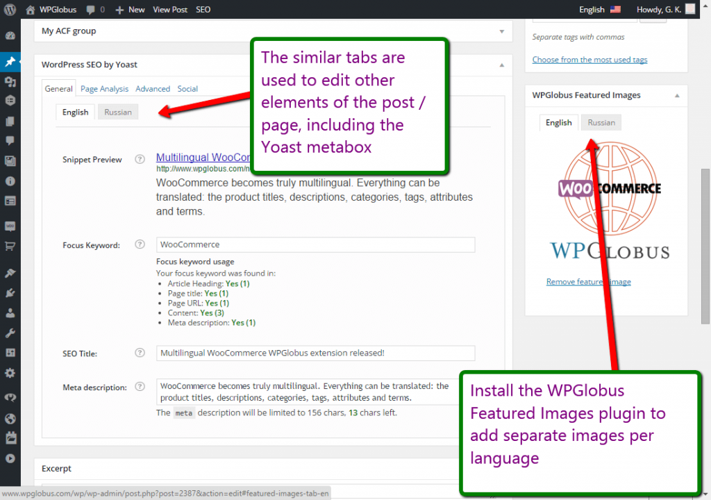 Multilingual Yoast SEO and Featured Images.