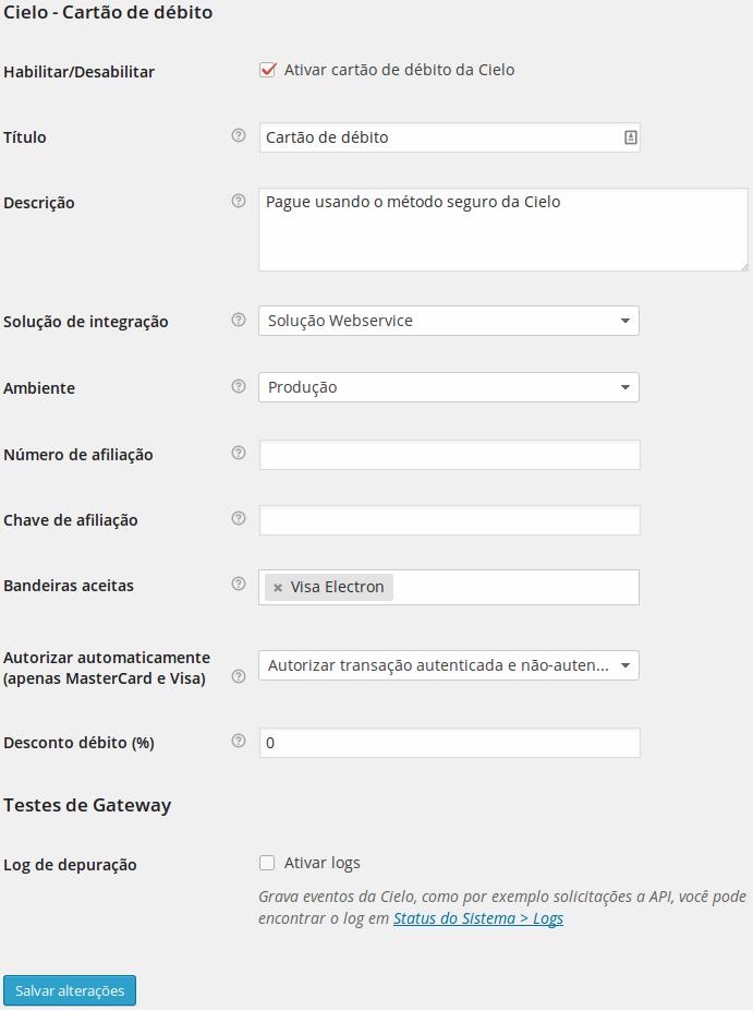 2. Checkout com o formulário padrão.