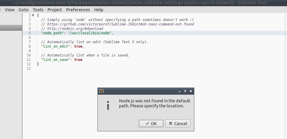 Node js was not found in the default path, but I have specified it