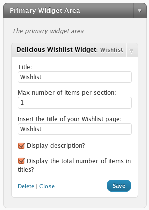 2. The settings for the widget