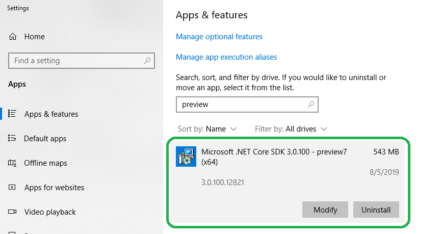 .NET Core 3.0 framework in your installed applications