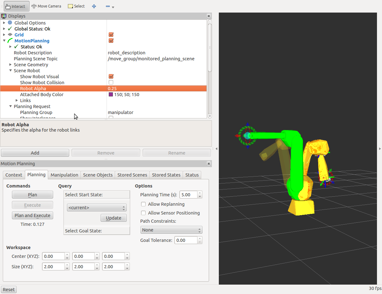 Current robot state incorrect when using Rviz planning