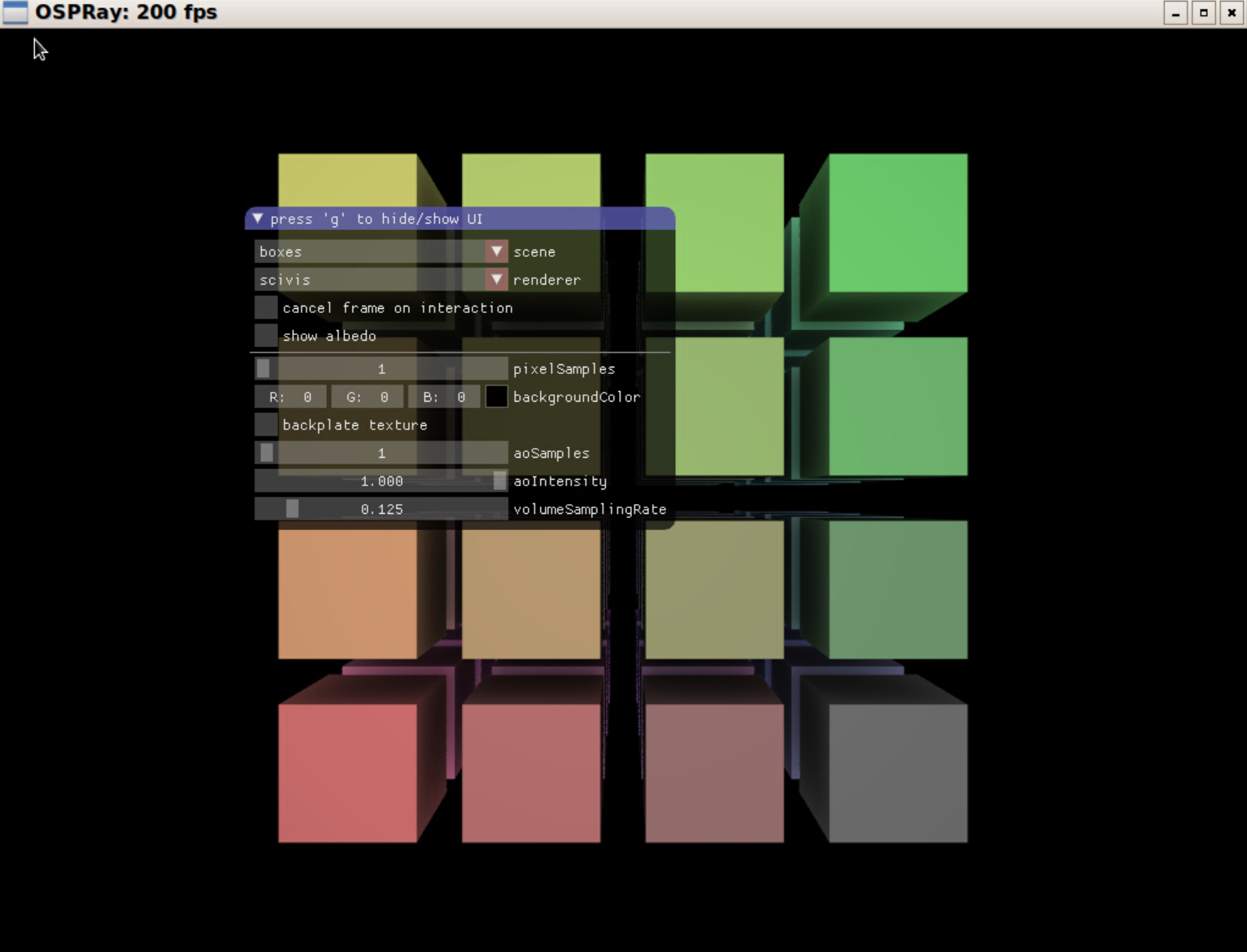 ospExamples application with default boxes scene.