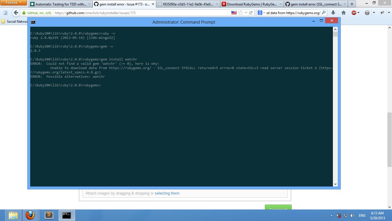 "Gem Install error when using ""gem install"" command line � issue #559"