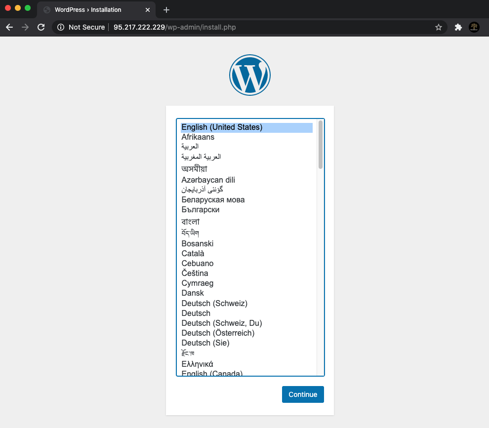 Wordpress Initial Install web page
