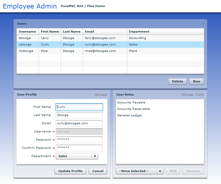 PureMVC AS3 Demo: Employee Admin