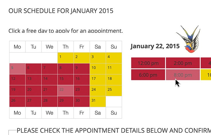 Appointments+ booking calendar