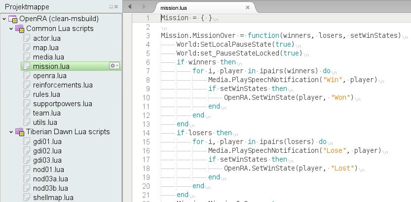 MonoDevelop OpenRA Lua