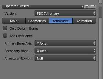 export fbx armature