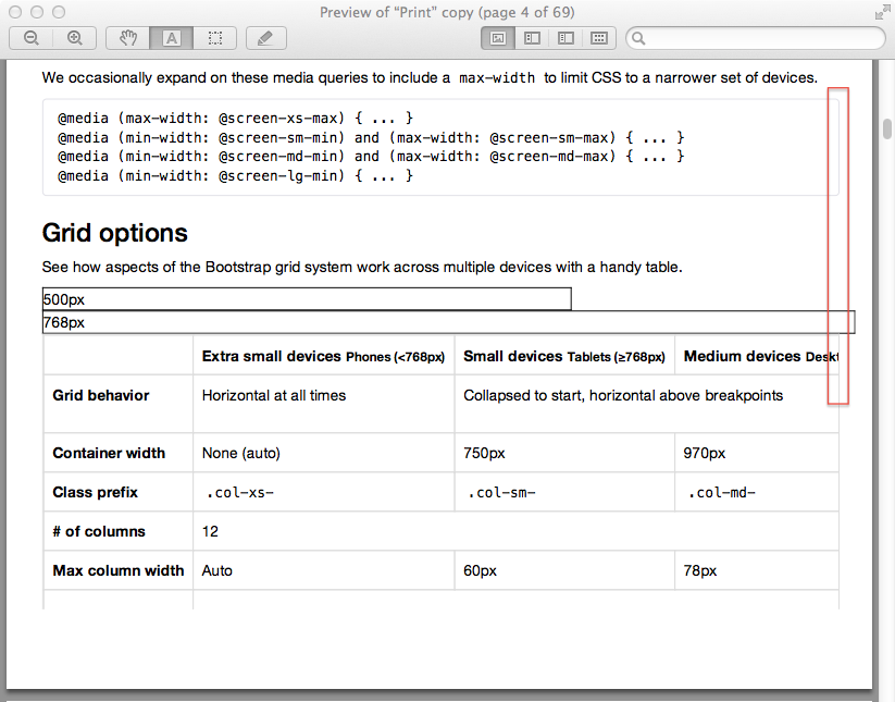 Grid stacks when printing in ie 11 or chrome 34 issue for Bootstrap table border